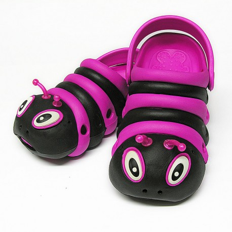 Black and Pink Bugz Shoes Stacked