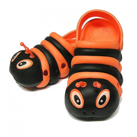 Orange and Black Bugz Shoes Stacked