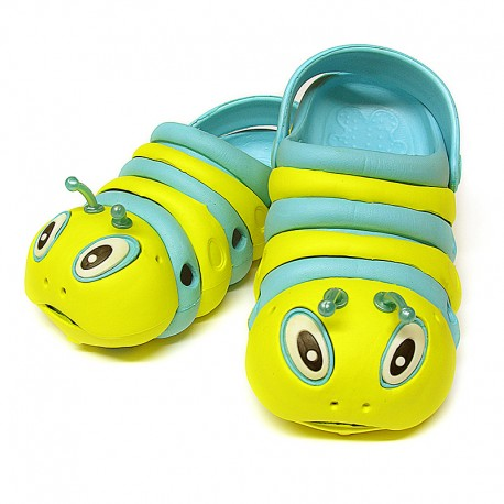 Blue and Yellow Bugz Shoes Stacked